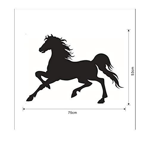 ljmljm Schwarzes 53x75cm laufendes Pferd Geschnitzte Autoausgangskunst-Wandaufkleber können Größe besonders angefertigt Werden -