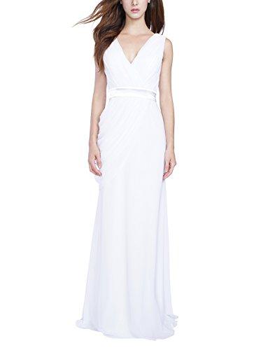 Brautjungfernkleid Chiffon Vorderer V-Ausschnitt Zurück V-Ausschnitt Ohne Arm Lange Hochzeitskleider (42, (Girl Dress Up Trunk)
