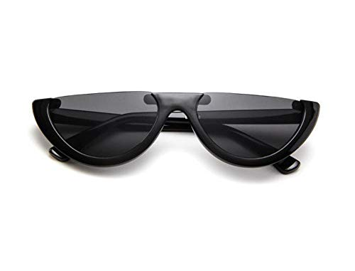 WSKPE Sonnenbrille,Cool Trendige Hälfte Frame Sonnenbrille Cat Eye Sonnenbrille Frauen Sonnenbrille Schwarz Gestell Schwarz Objektiv