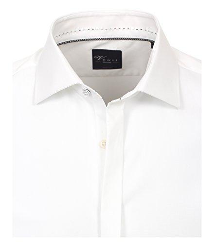 Venti Gala Hemd Body Fit Langarm New Kent Kragen mit Ziernaht Beige Weiß