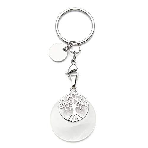 JOVIVI Edelstein Lebensbaum Schlüsselanhänger Silber Baum des Lebens Anhänger Schlüsselring Energietherapie Healing Keychain