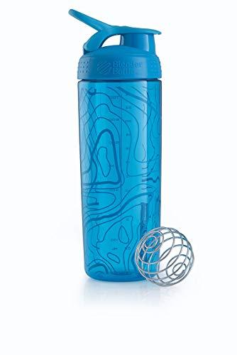 BlenderBottle Signature Sleek Shaker, Eiweiß Shaker , Wasserflasche , Protein Shaker mit Blenderball - Aqua Topt Flow (820ml)
