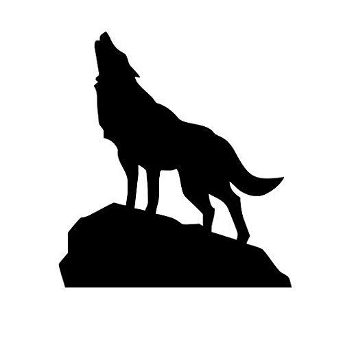 Wolf auf dem Gipfel des Berges kreative Heimat Kunst Dekoration PVC Kunst Vinyl Wandbild Wandaufkleber 59x67cm -