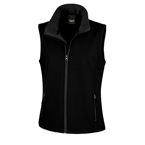 Result Core Damen Softshell-Weste, bedruckbar (Medium) (Schwarz/Schwarz)