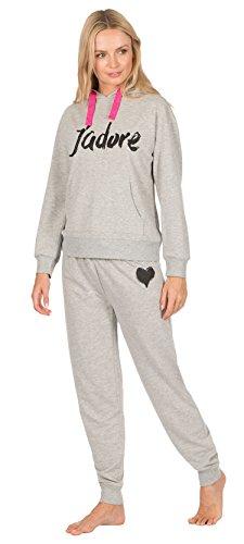 Damen Trainingshose Style Schlafanzüge Baumwollemischung Jadore mit Kapuze