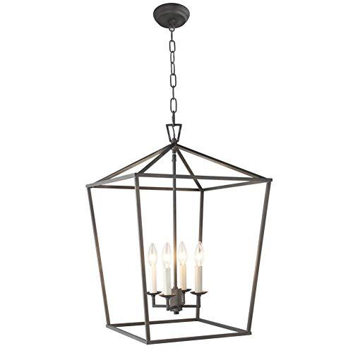 Schwarz Vier-licht Kronleuchter (Industrielle Metall rustikale Kronleuchter, 4 Licht Laterne Pendelleuchte, Vintage Deckenleuchte für Esszimmer Küche Insel Wohnzimmer Eingangshalle Treppe (Color : Schwarz))