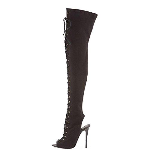 XUENVTIA Damen schwarz Segeltuch Cowboy Vor und nach der Eröffnung Frontband Knie Oberschenkel Stiefel Damen Stiefel, ()