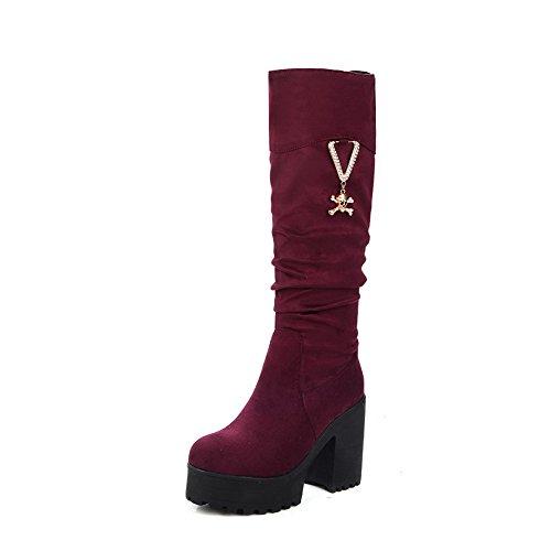 AgooLar Damen Hoch-Spitze Eingelegt Ziehen auf Hoher Absatz Stiefel mit Anhänger, Weinrot, 35
