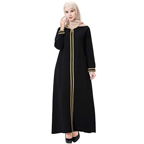 URIBAKY Muslim Damen Robe,Langer Rock Muslimische Robe,muslimische Hijab Daily Casual Schlank Solide Lange Ärmel Lange Mode Kleider