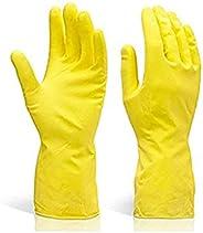 DeoDap Cleaning Gloves Reusable Rubber Hand Gloves, Stretchable Gloves for Washing Cleaning Kitchen Garden (Pi