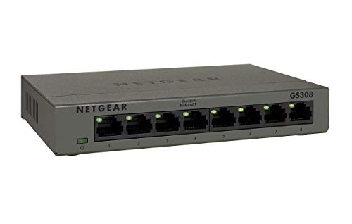 NETGEAR GS308 8 Port Gigabit Ethernet Unmanaged Switch (Desktop, robustes Metallgehäuse, lüfterlos) - Hub 5 Netgear Ports
