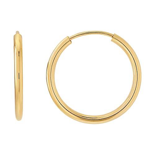 Creolen Paar 333 Breite 2,00mm Gold Gelbgold ECHT GOLD groß klein Polierte Runde Kreis Creole (Ø 20.00mm) (Kleine Goldene Creolen)