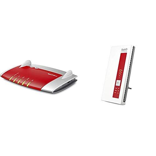 AVM FRITZ!Box 7430 (VDSL-/ADSL2+, WLAN N, 450 MBit/s (2,4 GHz), TK-Anlage für Voice over IP mit DECT-Basis) geeignet für Deutschland & FRITZ!WLAN Repeater 1750E, Rot/Weiß, deutschsprachige Version - Wireless-telefon-basis