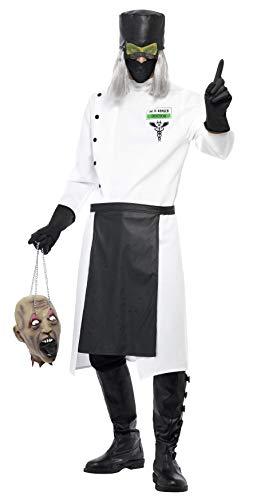 Smiffys, Herren Dr. D.Ranged Kostüm, Lange Jacke mit Knöpfen, Handschuhe, Hut mit Haar und Maschen-Augenschutz, Maske und Schürze, Größe: M, 33276