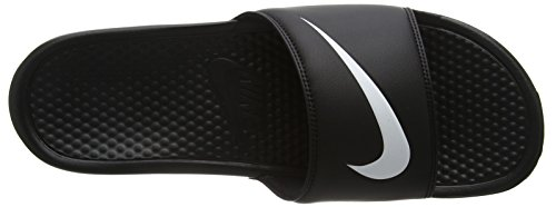 Nike Benassi Swoosh, Sandales Plateforme Homme Noir (Black/White 011)