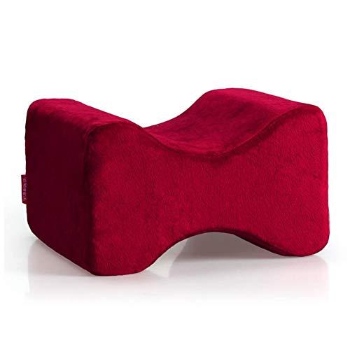 Wgwioo Kniekissen, Memory Foam Legs Positioner Pillow, Contour Kniekissen für Ischias-Relief,Red,27 * 21 * 16cm
