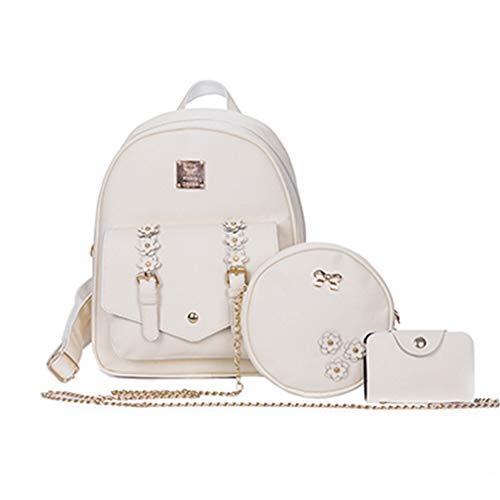 3 Stück Schultaschen für Mädchen Rucksäcke Schultertaschen beige 25x10x30cm