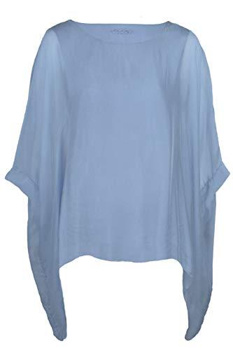 Cara Mia Seidentunika für Damen Made in Italy lang Fledermaus-Ärmel Blau 38 40 42 44 - Kurzarm-seiden-tunika