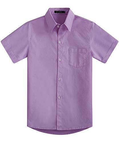 2790815325bf3 Spring & Gege Chemise Couleur Garçon Unie Uniforme Scolaire Classique de  Coton pour Enfant Violet 5-6 Ans