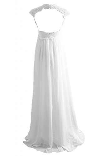 Toscane mariée magie empire chiffon abendkleider de long avec pointe fermement ballkleider demoiselle d'honneur soirée Blanc - blanc