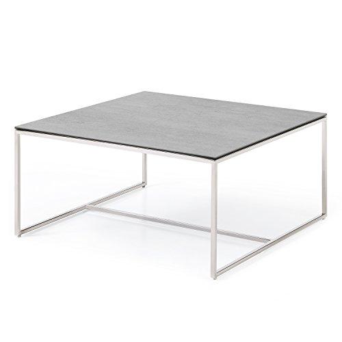 MASSIMILANO Grau Couchtisch wohnzimmertisch mit Keramik-Tischplatte, Beton Optik,Edelstahl tischgestell,Modern Quadratisch (80x80x40cm) (Keramik-wohnzimmer Tisch)