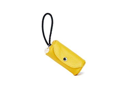 HelloJello - Bolso de piel auténtica hecho a mano para mascotas, colorido, elegante, hecho a mano, de piel auténtica, dispensador de bolsas para perro