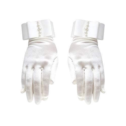 Handgelenk Länge Brauthandschuhe (Jinzuke 1 Paar Frauen-Mädchen-Handgelenk Länge Brauthandschuhe Perlen Handschuhe Weibliche Braut Hochzeit Kleid-Handschuhe)