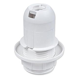 E14 Lampenfassung Kunststoff (PBT), Gewindefassung (kurze Version) mit Einbauring Weiß (RAL 9003)