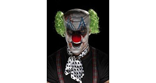 Fake Haar Kostüm (Smiffys, Unisex Grusel Clown Make-Up Set, Glatzen-Mütze, Haare, Nase, Gesichtsfarbe, Fake-Blut und Applikatoren, One Size, Bunt,)