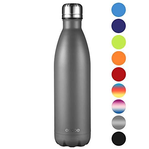 Ecooe Thermosflasche 750ml Doppelwandig Trinkflasche Edelstahl Wasserflasche Vakuum Isolierflasche Grau