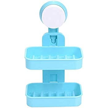 exmart Plastic Double Layer-Strong Suction Cup Wall Tray Soap Storage Box for Bathroom Shower Tool (Random Colour, One Size)