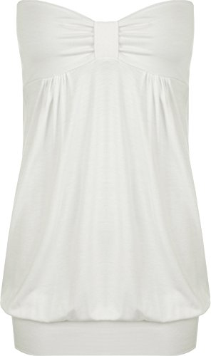 WearAll - Damen Übergröße Einfarbig Trägerlos Lang Bandeau Top - Crème - 52-54