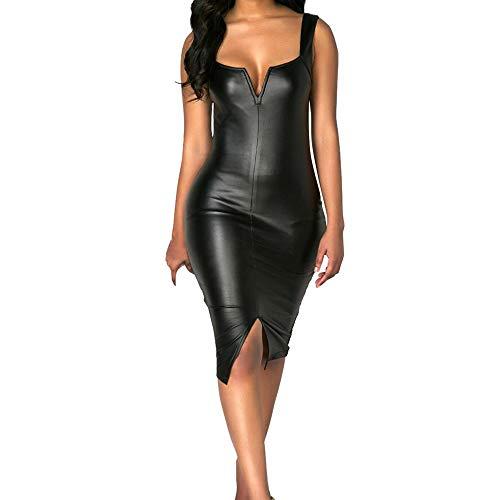 Kaister Damen Mode Plus Size Sexy V-Ausschnitt ärmellose Gabel Party Prom Lederkleid -