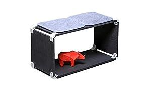 PlayWood kit multifuncional, asiento componible en MDF negro, con conector provisto de tornillo de acero inoxidable. Medidas 80x42x35cm (Blanco)
