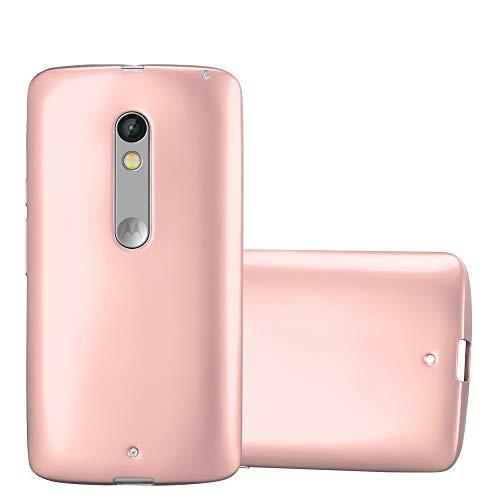 Cadorabo Hülle für Motorola Moto X Play - Hülle in METALLIC Rose Gold – Handyhülle aus TPU Silikon im Matt Metallic Design - Silikonhülle Schutzhülle Ultra Slim Soft Back Cover Case Bumper
