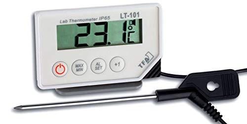 TFA Dostmann 30.1033 digitales Einstichthermometer (Weiss mit Clips für Temperaturfühler)