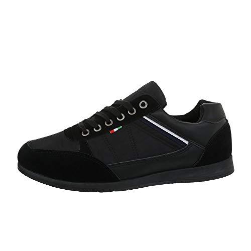 Ital-Design Herrenschuhe Sneaker Turnschuhe Synthetik Schwarz Gr. 43