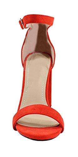 Sandale Daim Haute Stile Scarpe Femme Dalle Rosso anqxSw5