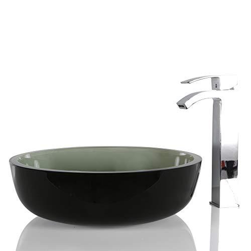 Grünes Glas runder Waschbecken - Designer Badezimmer Aufsatzwaschbecken mit kostenloser Ablaufgarnitur in Ombré-Optik