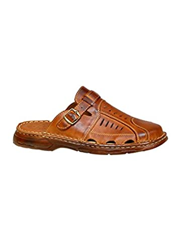 Comfy Orthopedic Form Mens Genuine Buffalo Leather Shoes Mule Sandals Model-861