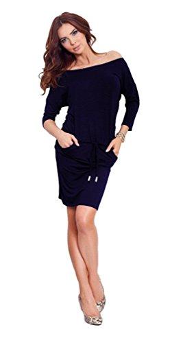 Capri Moda - Femme Sport Robe mini encolure bateau manches 3/4 - poches - 533 Marine