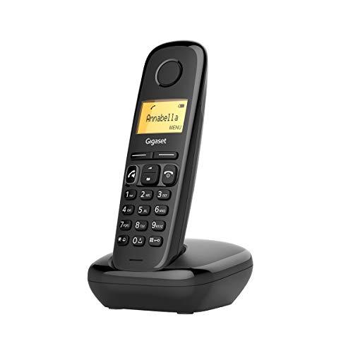 Oferta de Gigaset A270 - Teléfono fijo inalámbrico para casa manos libres, gran pantalla iluminada, agenda 80 contactos, color negro