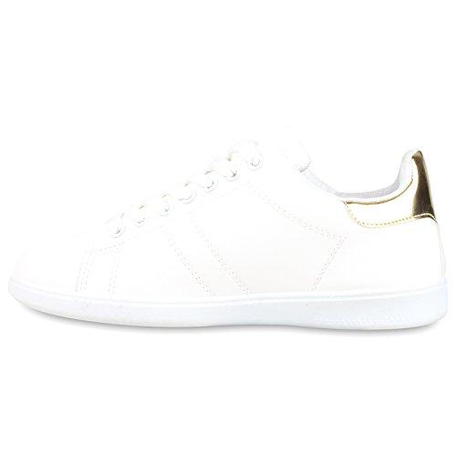 Sportliche Damen Sneakers | Sneaker Low Metallic Lack | Turnschuhe Muster Glitzer | Retro Flats Schnürer | Animalprints Veloursleder-Optik Weiss Gold