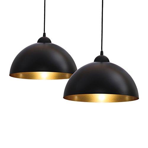 Pendelleuchte, 2x Industrielle Vintage LED Pendellampe, Ø 30cm exkl. E27 max. 60W Leuchtmittel, Retro Hängelleuchte, schwarz