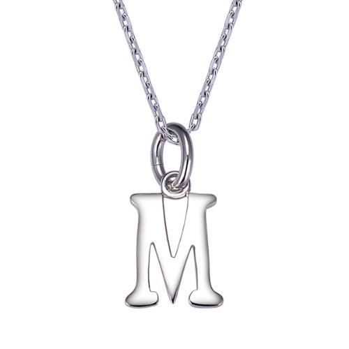 VIKI LYNN Collier Pendentif Lettre M d'alphabet DIY Les Noms avec Les Lettres en Argent Fin 925 pour Les Petites Filles