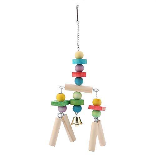 Giocattolo da masticare per uccelli, colorato blocco di legno appeso giocattolo mordente arrampicata altalena accessori per gabbie per pappagalli per macaw africano grigio Amazon cacatua pappagallini