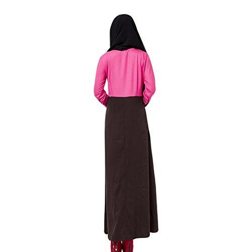 Meijunter Musulman Femme Vêtements Kaftan Abaya Islam Manche longue Dress Loose Robe Rose