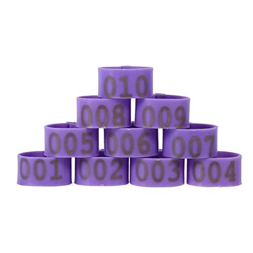 Bein Ringe, 100 Stück Gefluegel Bands 001 - 100 Nummerierte Plastikgeflügel Beinringe, für Hühner, Enten, Vögel, Innendurchmesser 16mm, violett