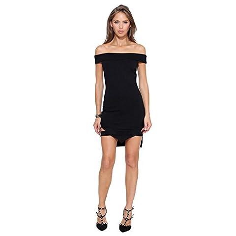 sac couture col de mode féminine hanche irrégulière robe noire , black , l