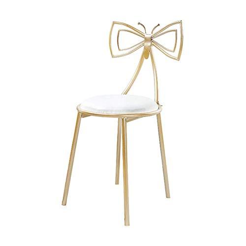 Butterfly-tisch-stuhl-set (Anyer Make-up Stuhl Schmetterling Rückenlehne Dressing Stuhl Prinzessin Hocker Kaffeestuhl für Wohnzimmer/Restaurant/Club/Balkon Golden,White,45 * 75CM)